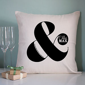 Personalised Ampersand Cushion - cool tones