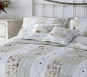 Vintage Style Green And White Patchwork Quilt - bed, bath & table linen