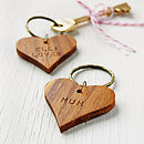 Personalised 'Mummy' Wooden Heart Keyring
