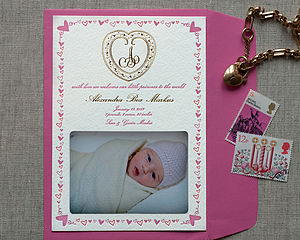 Gold Filigree Letterpress Birth Announcement