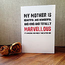 'My Mother Is Marvellous' Card