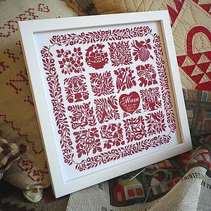 Personalised Mum's Heart Quilt Print - prints & art