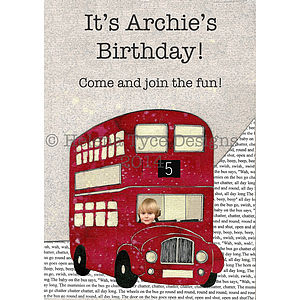 Personalised Wheels On The Bus Party Invites - children's parties