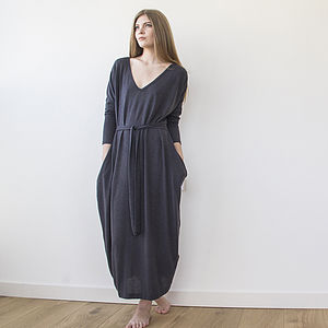 Dark Gray Maxi Knitted Dress - dresses
