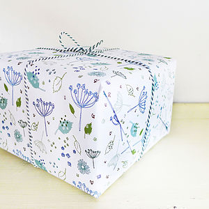 Blue Parsley Gift Wrap - wrapping paper