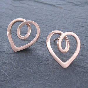 Eternal Heart Rose Gold Studs - earrings