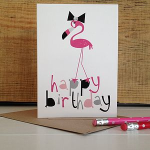 Pink Flamingo 'Happy Birthday' Card - birthday cards