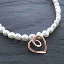 Eternal Heart Rose Gold Pearl Necklace