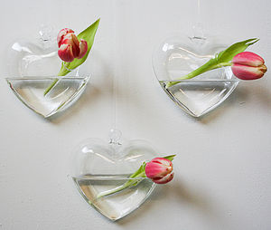 Two Hanging Heart Vases - vases