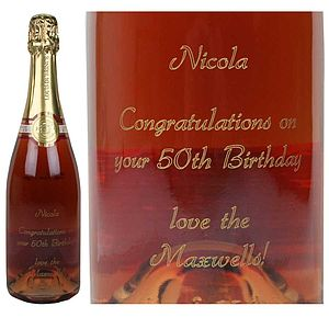 Engraved Bottle Of Rose Champagne