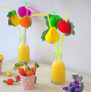 Set Of Six Fruity Party Straws - drink & barware