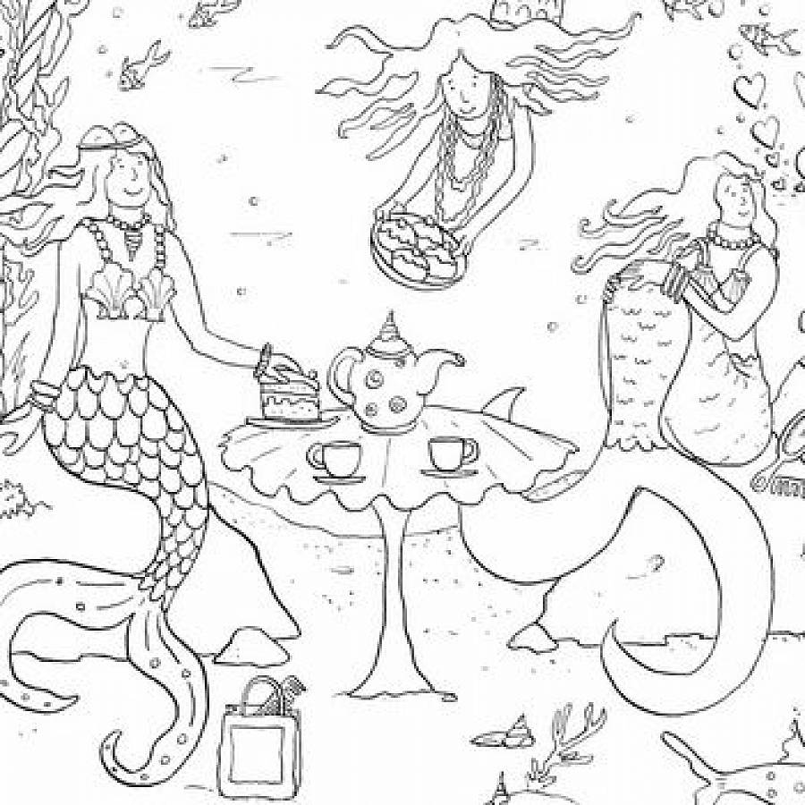 mermaid sea adventure colouring in poster by really giant posters
