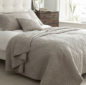 Mocha Beige Jacquard Quilted Bedspread - bed, bath & table linen