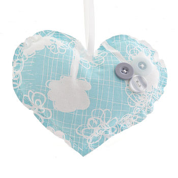 Blue Cow Parsley Medium Heart Keepsake