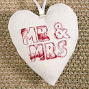 personalised mr & mrs heart, cream with red floral