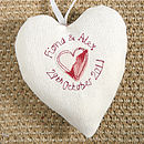 back of personalised wedding heart, cream with red floral