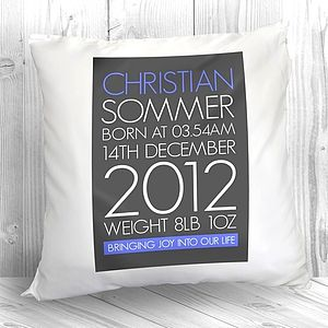 Personalised New Baby Cushion - home