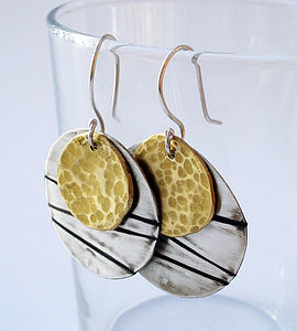 Silver And Brass Textured Earrings - earrings