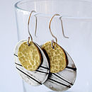 Silver And Brass Textured Earrings