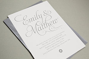 'Swish' Letterpress Wedding Stationery - wedding stationery