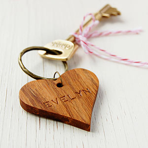 Personalised Wooden Heart Keyring - keepsakes