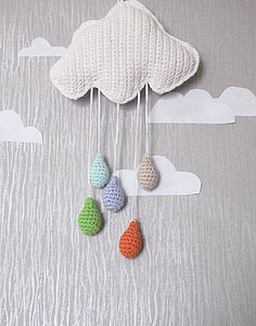 Hand Crochet Cloud And Rain Drops - mobiles