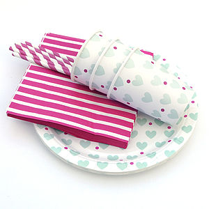Mint Love Heart Party Tableware Set