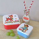 Set Of Two Bambi And Girl Retro Lunch Boxes