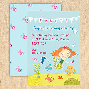 Personalised Girl's Mermaid Invitations