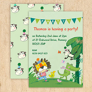 Personalised Boy's Jungle Invitations - children's party invitations