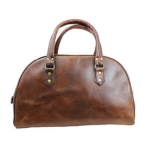Leather Bowling Weekend Bag - holdalls & weekend bags