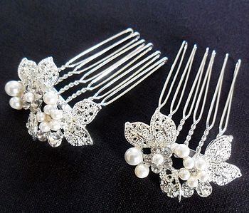 Pair Of Delicate Leaf Design Hair Combs