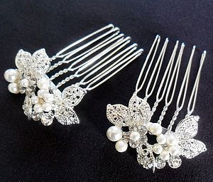 Pair Of Delicate Leaf Design Hair Combs - wedding fashion