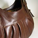 Brown Leather Handbag With Pleats