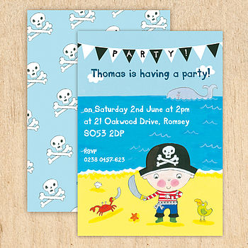 Personalised Boy's Pirate Invitations