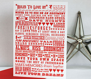 'Rules To Love By' Typographic A5 Card And Print - shop by occasion