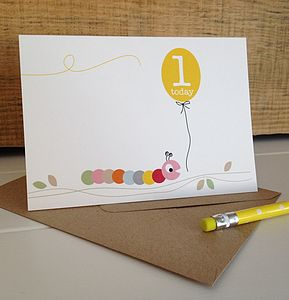 Caterpillar First Birthday Card