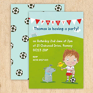 Personalised Boy's Football Invitations - children's party invitations