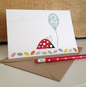 Ladybird Second Birthday Card - special age birthday cards