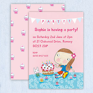 Personalised Girl's Birthday Invitations - invitations