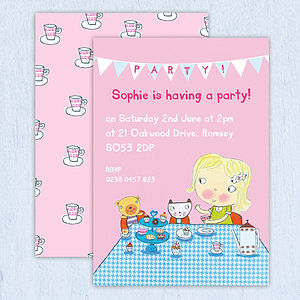 Personalised Girls Tea Party Invitations - personalised