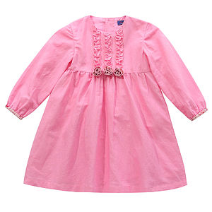 Girl's Pink Floral Trim Rosette Dress