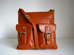 Tan Leather Cross Body Pocket Messenger Bag