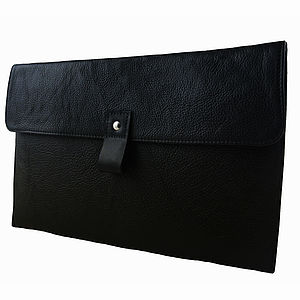 Black Leather 13 Inch Macbook Air Case - laptop bags & cases