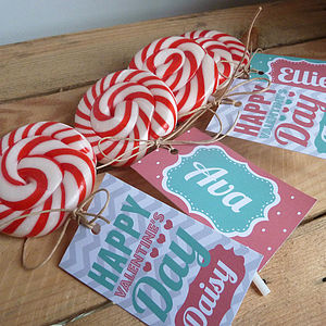 Personalised Retro Name Tag Swirl Lollipop - wedding favours