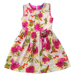 Girl's Hot Pink Floral A Line Dress - wedding and party outfits