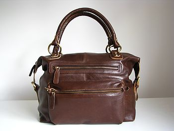 Brown Leather Handbag Zip Tote