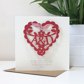 Personalised Papercut Initials Card