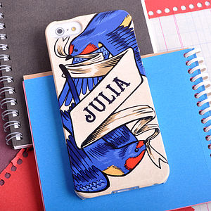 Personalised Swallow Tattoo Case For iPhone - bags & purses