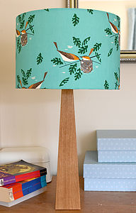 Handmade Birds Wooden Table Lamp - dining room